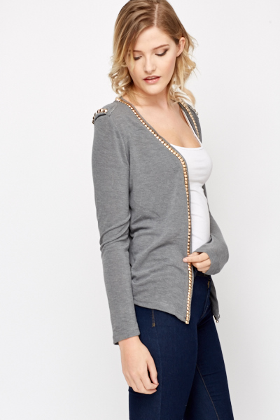 Lace Back Open Front Cardigan