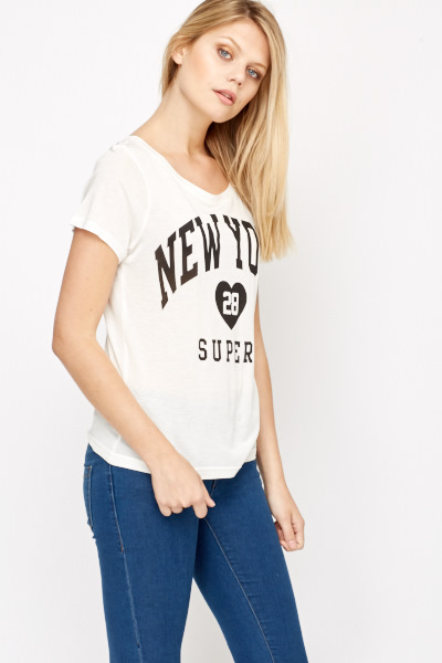 New York Print Casual T-Shirt