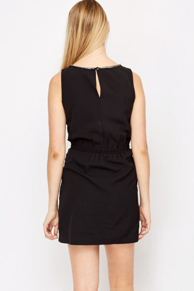 Chain Trim Ruched Front Dress