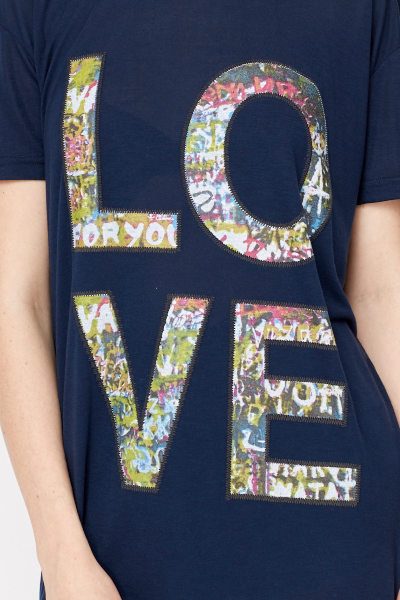 Navy Love Print Oversized T-Shirt
