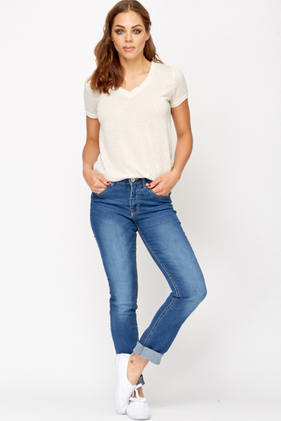 Straight Leg Bleach Wash Jeans