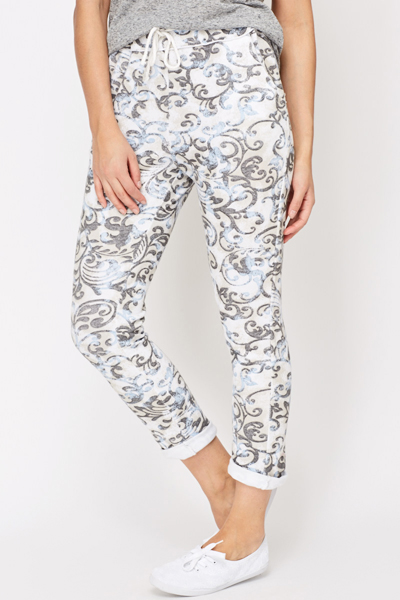 Tapestry Print Cotton Joggers