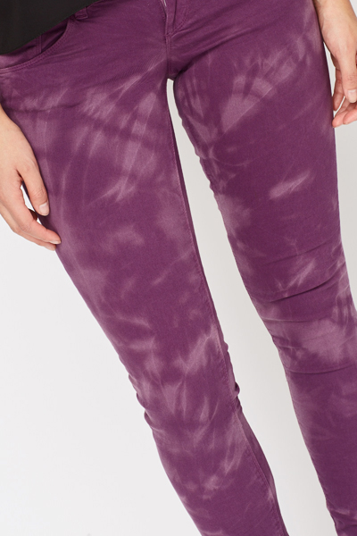 Tie Dye Purple Slim Leg Jeans
