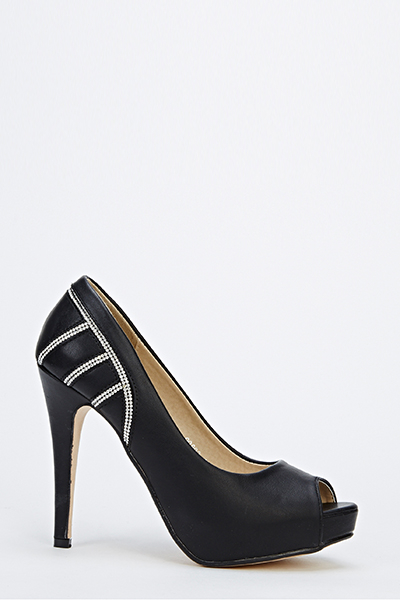 Faux Leather Peep Toe Diamante Side Heel