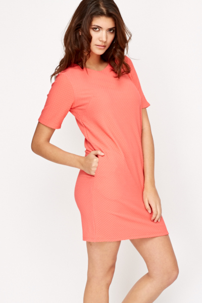 Textured Coral Dress