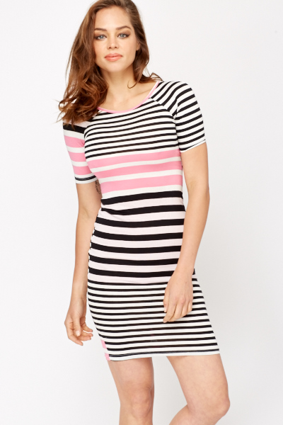 Stripe Contrast Bodycon Dress