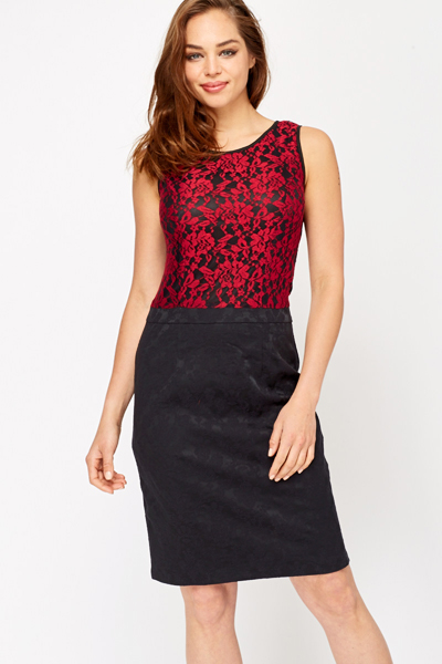 Contrast Lace Overlay Pencil Dress