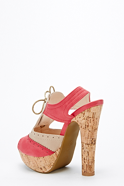 Cork Effect Lace Front Sandals