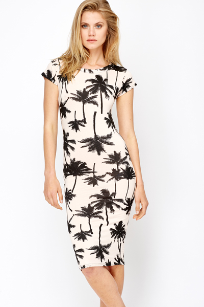 Palm Tree Print Midi Dress
