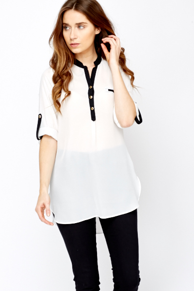 Contrast Trim Sheer Dip Hem Blouse