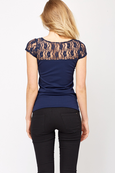 Lace Insert Bow Front Top
