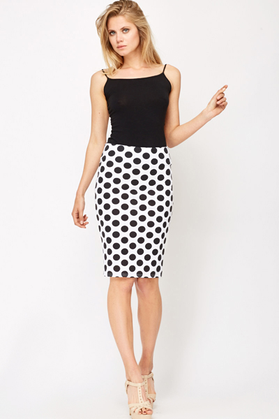 polka dot high waisted pencil skirt just 1635