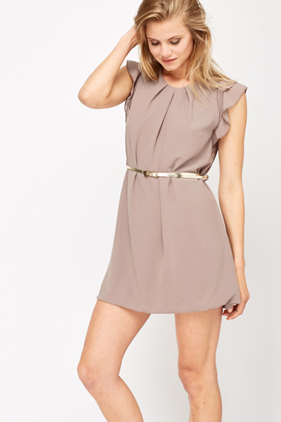 Ruched Neck Sheer Shift Dress