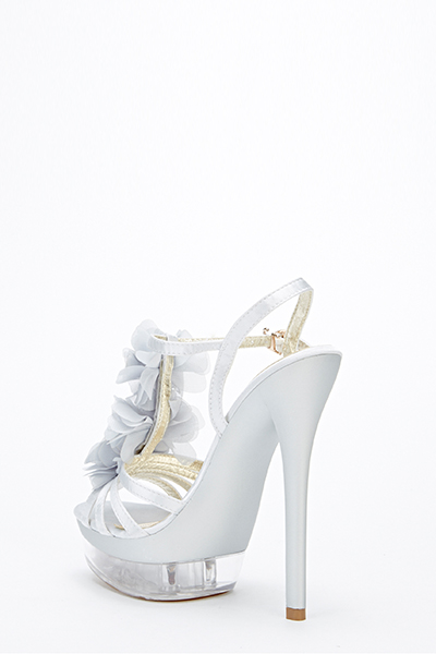 Ruffle Front Strappy Heel Sandals