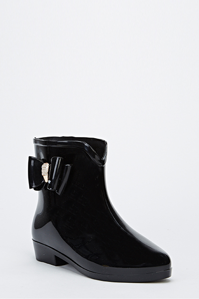 Bow Metallic Ankle Wellington Boot
