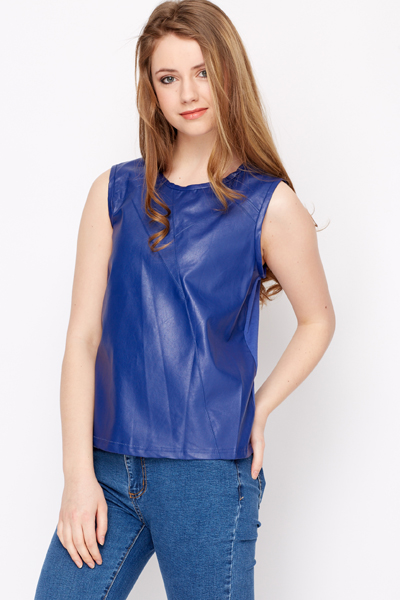 Faux Leather Front Sleeveless Top