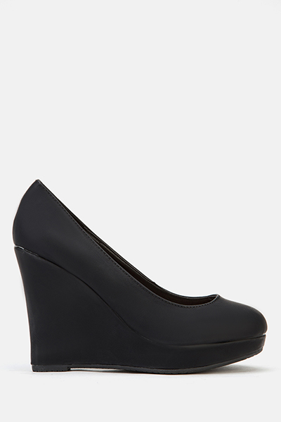 Faux Leather Wedge