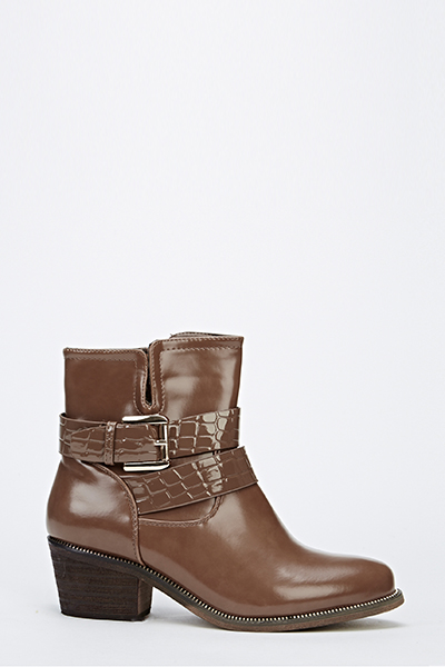 Khaki Ankle Buckle Strap Boots