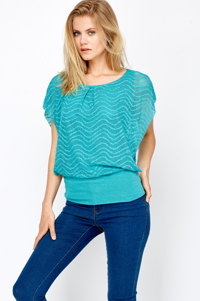 Perforated Chiffon Top