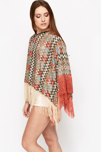 Two Toned Tassle Poncho