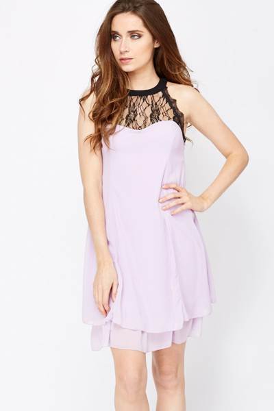 High Neck Sweetheart Swing Dress
