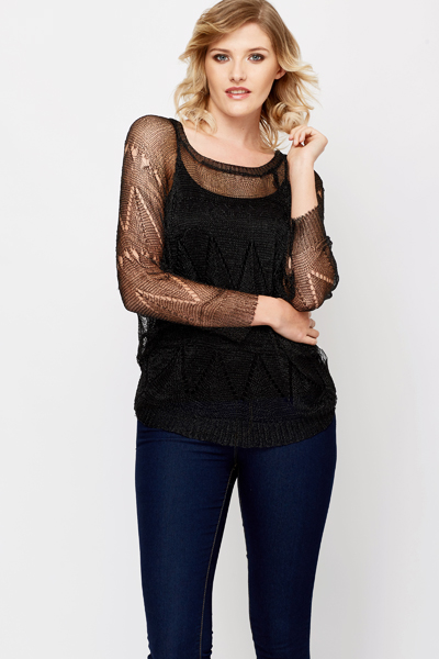 Netted Batwing Top