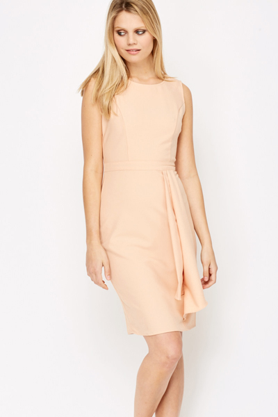 Pleated Waist Coral Dress