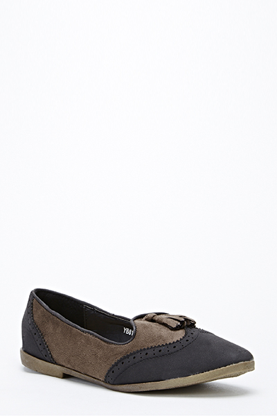 Two Tone Tassel Front Loafers