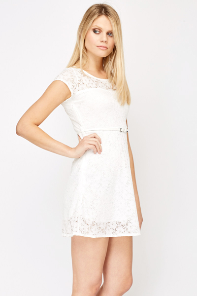 Belted Lace Overlay Skater Dress