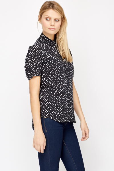 Button Front Polka Dot Shirt