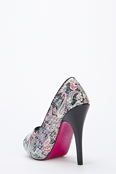 Paisley Print Peep Toe Shoes Black Just 163 5