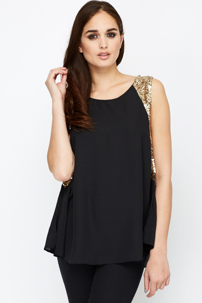Sequin Side Perforated Blouse