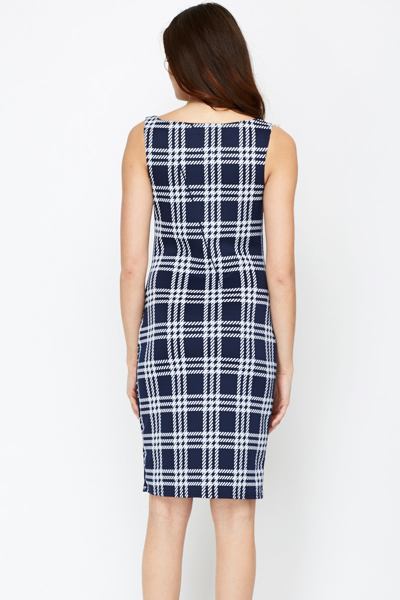 Checked Contrast Shift Dress