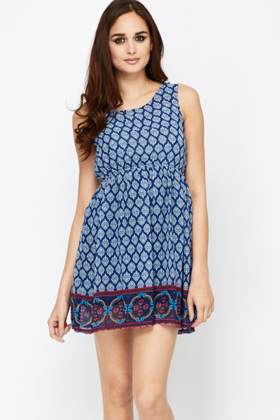 Contrast Print Hem Skater Dress