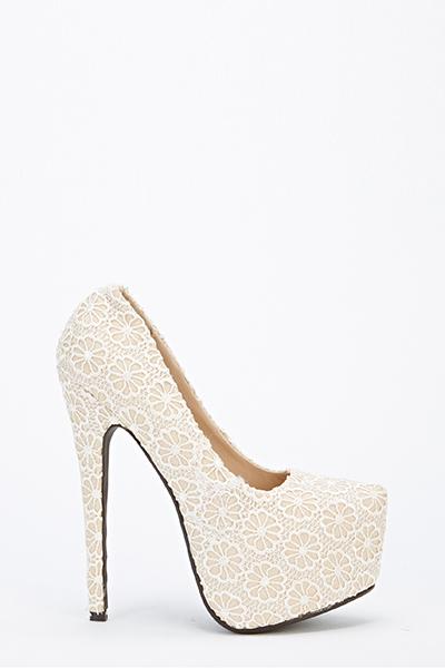 Floral Lace Platform Heels - Just $6