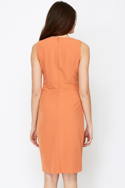 Rust Cotton Blend Dress