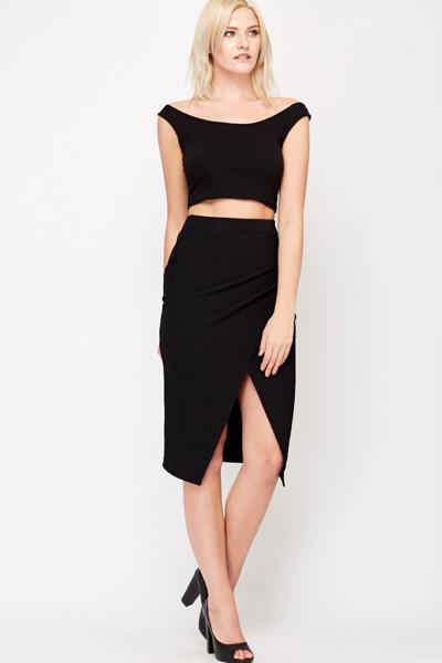 Black Wrap Pencil Skirt - Just £5