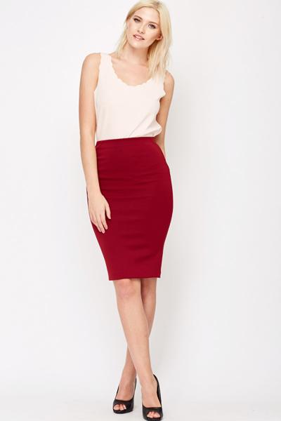 Burgundy Scuba Pencil Skirt - Just £5