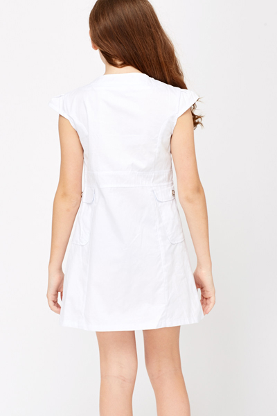 Button Front White Summer Dress