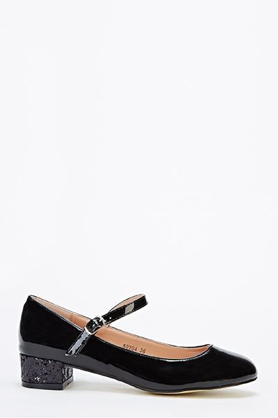 Low Heel Shiny Black Shoes - Just $6