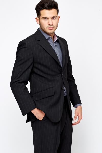 Pinstripe Mens Black Blazer - Just U00a35