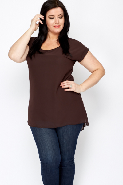 Sheer Dipped Hem Top