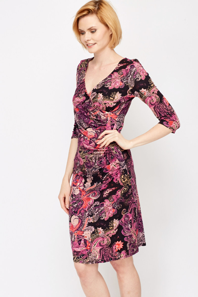 Paisley Print Wrap Front Dress
