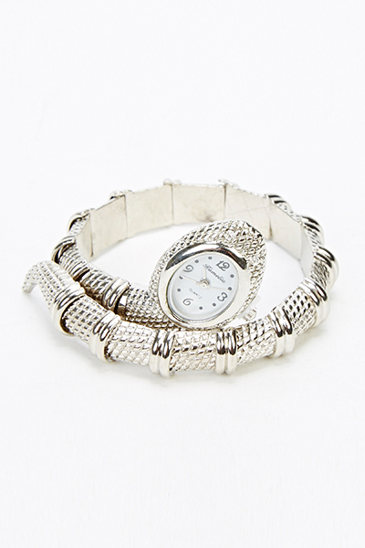 Silver Snake Head Bangle Watch