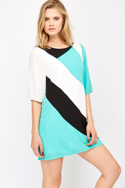 Contrast Panel Sheer Dress