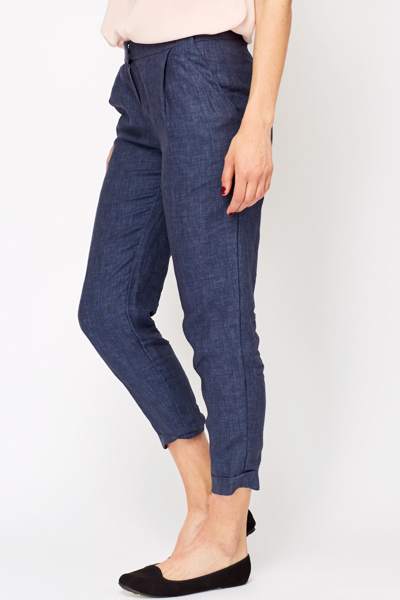 Denim Blue Linen Trousers