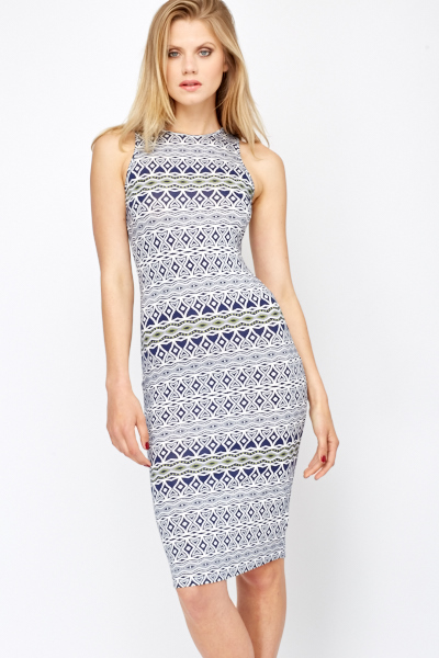 Sleeveless Printed Bodycon Dress