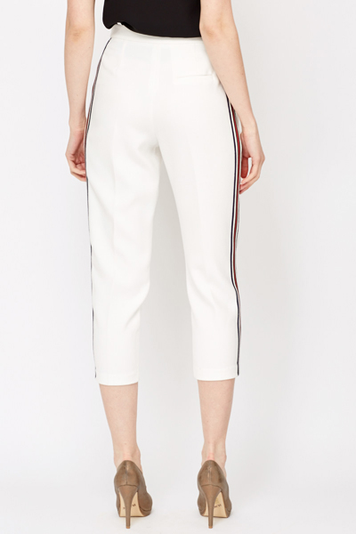Striped Side White Cropped Trousers