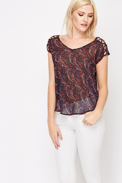 Cut Out Paisley Sheer Blouse