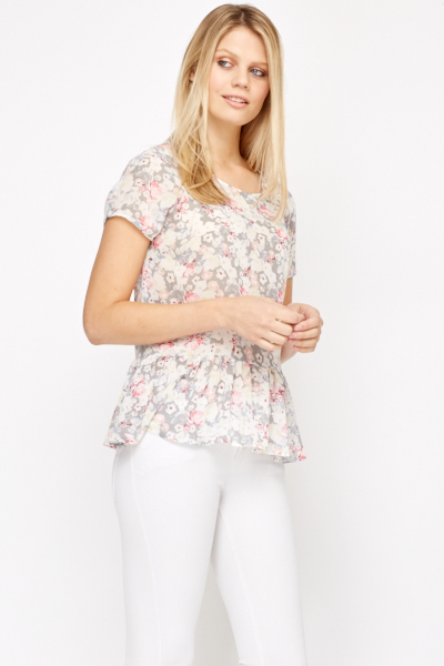Grey Floral Peplum Top